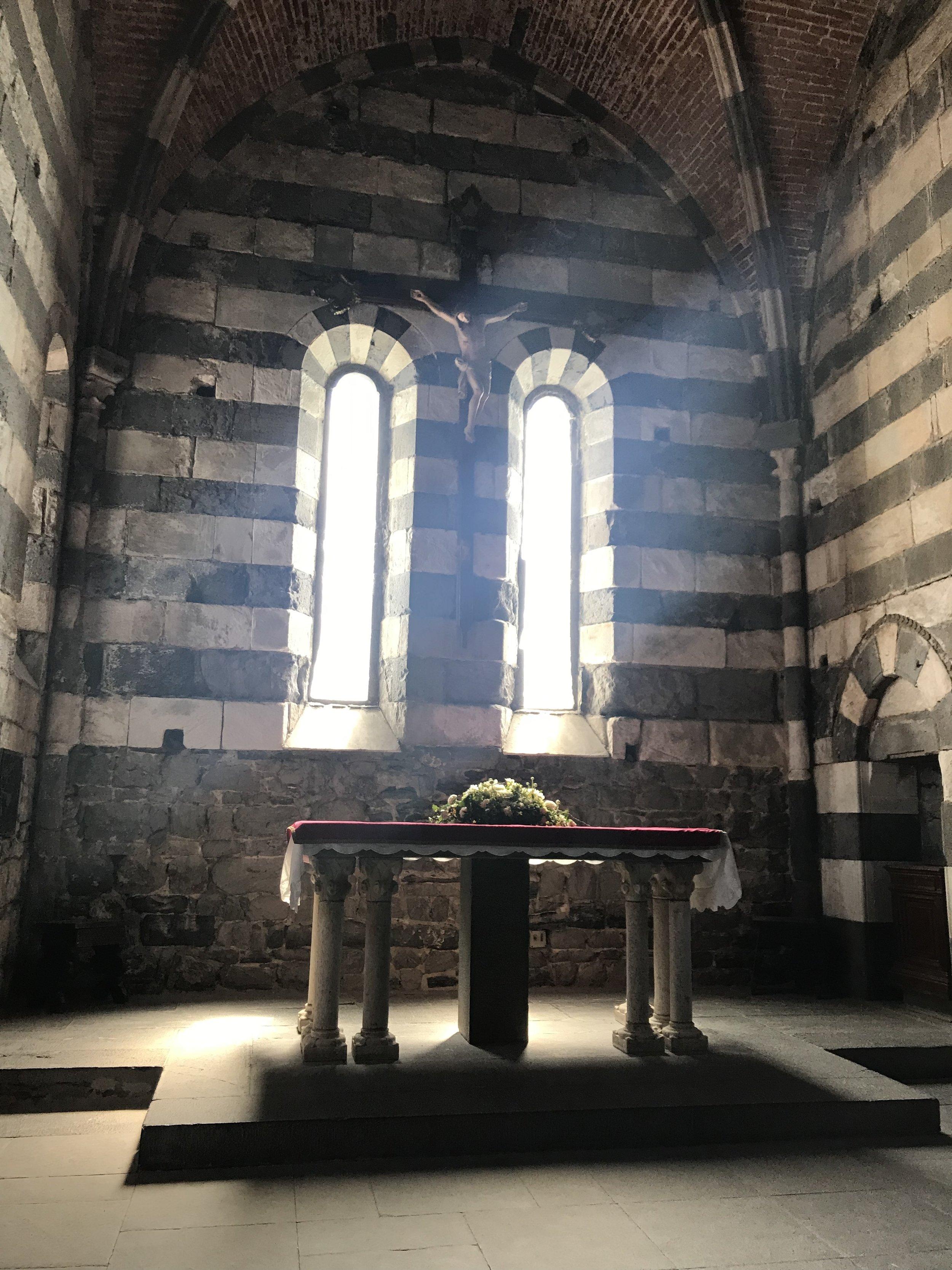 The altar inside the church at Portovenere.