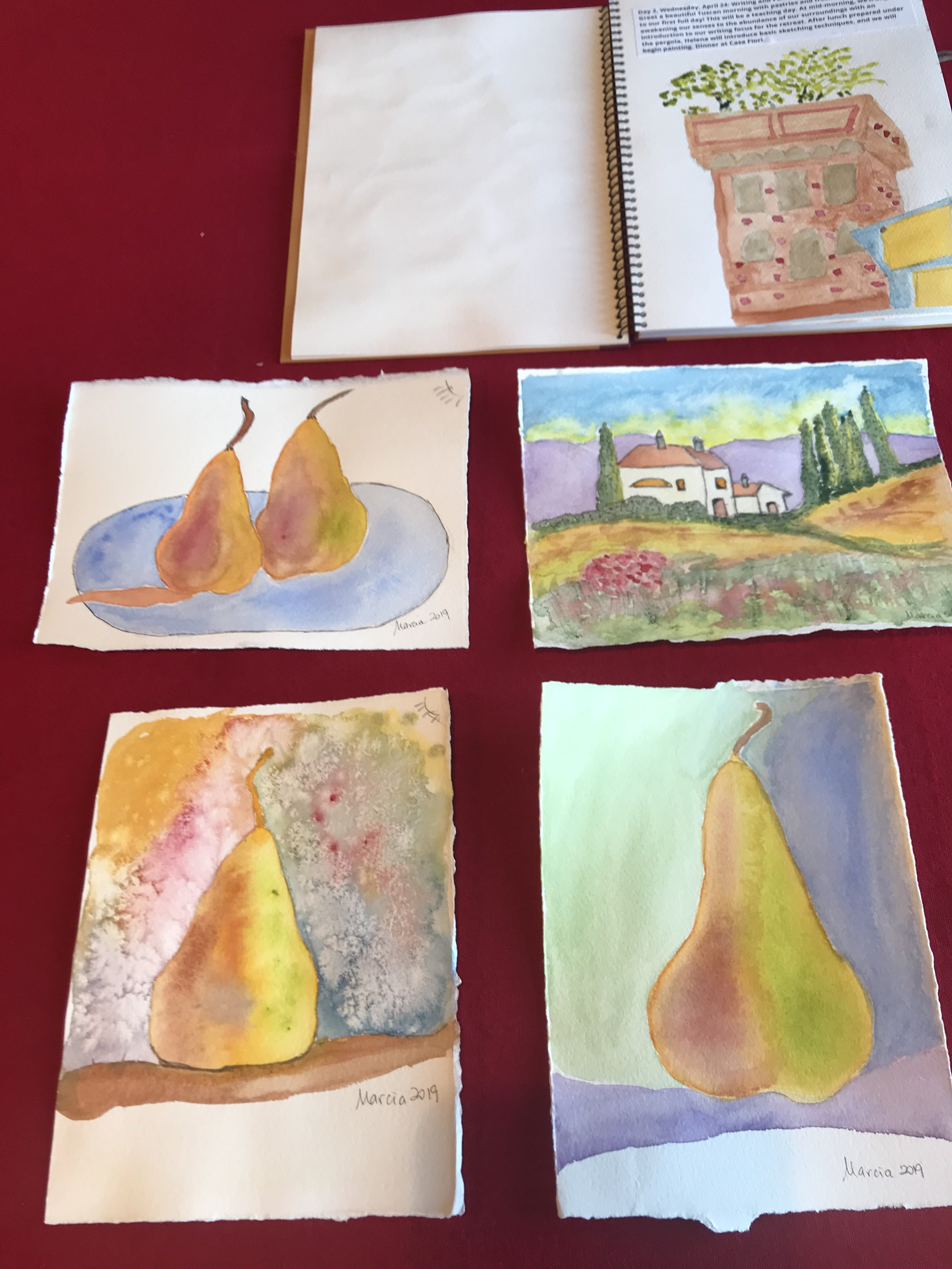 My first watercolors, with thanks to the excellent teaching of my colleague-in-crime Helena Hill. (Remember the tree tower in Lucca?).
