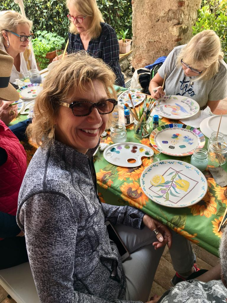 Painting our ceramic plates at the watercolor studio of Katinka Kielstra near Lucca, Italy