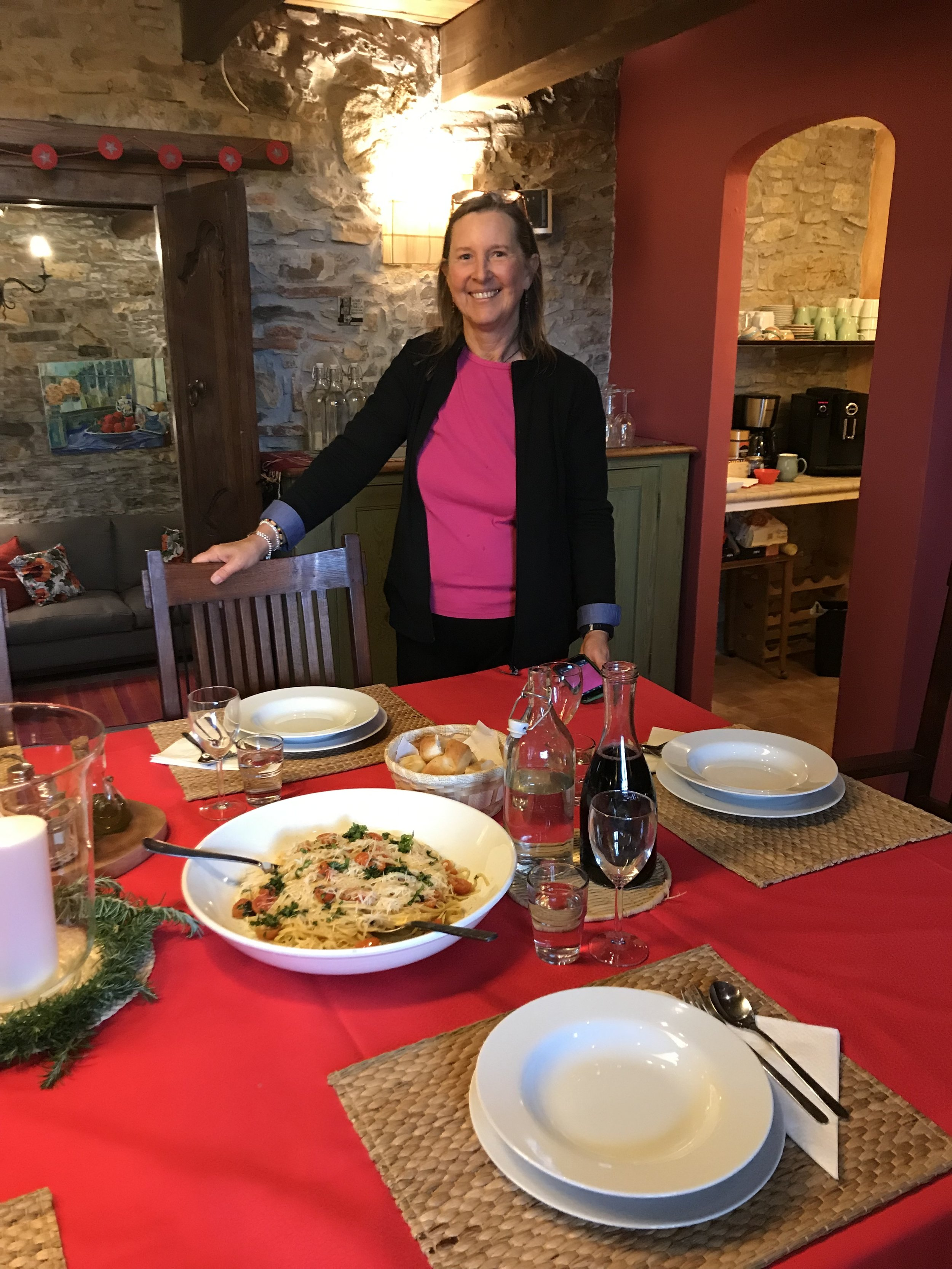 Helena with a typical lunch at Casa Fiori