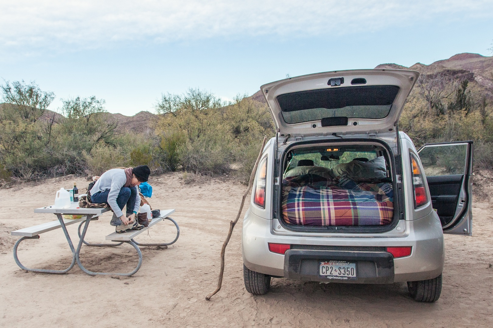 Camping in a Kia Soul along the Rio Grande at Big Bend State Park