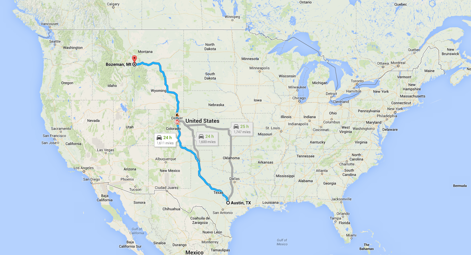 Here is a map of our cross-country move!