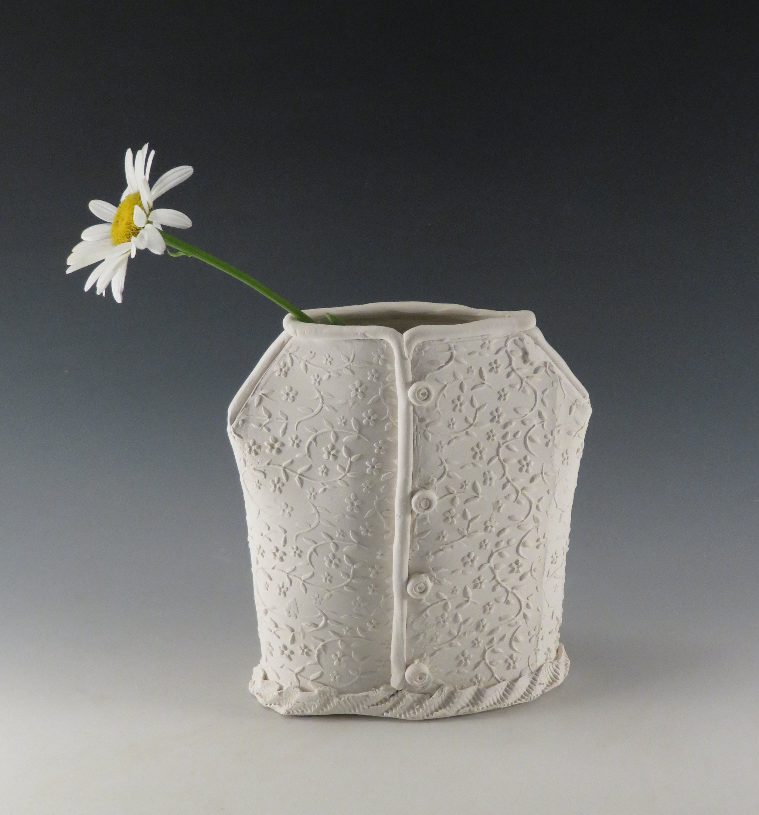 Handbuilt white dress vase