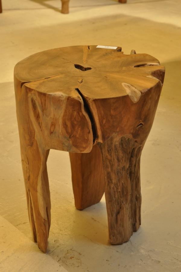 "Teak Root Round Side Table/Stool 3-leg  12""D x 15.75""H  Price: $95"