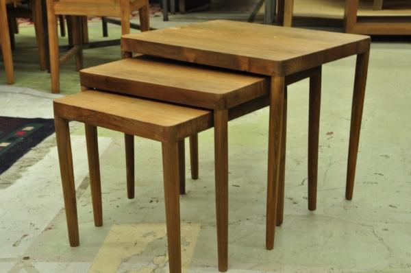 "Teak Nesting Side Tables  Large: 22""W x 19""D x 20""H Price: $295  Medium: 19""W x 19""D x 18""H Price: $275  Small: 16""W x 19""D x 16""H Price: $255"