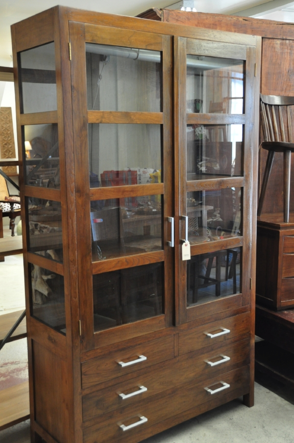 "Blitar Glass Cabinet ,  2-Door or 4-Drawer  45""W x 18""D x 79""H   Price: $2,475"