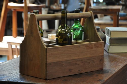 "Wooden Bottle Carrier  Price: $65, 16""W x 8""D x 12""H"