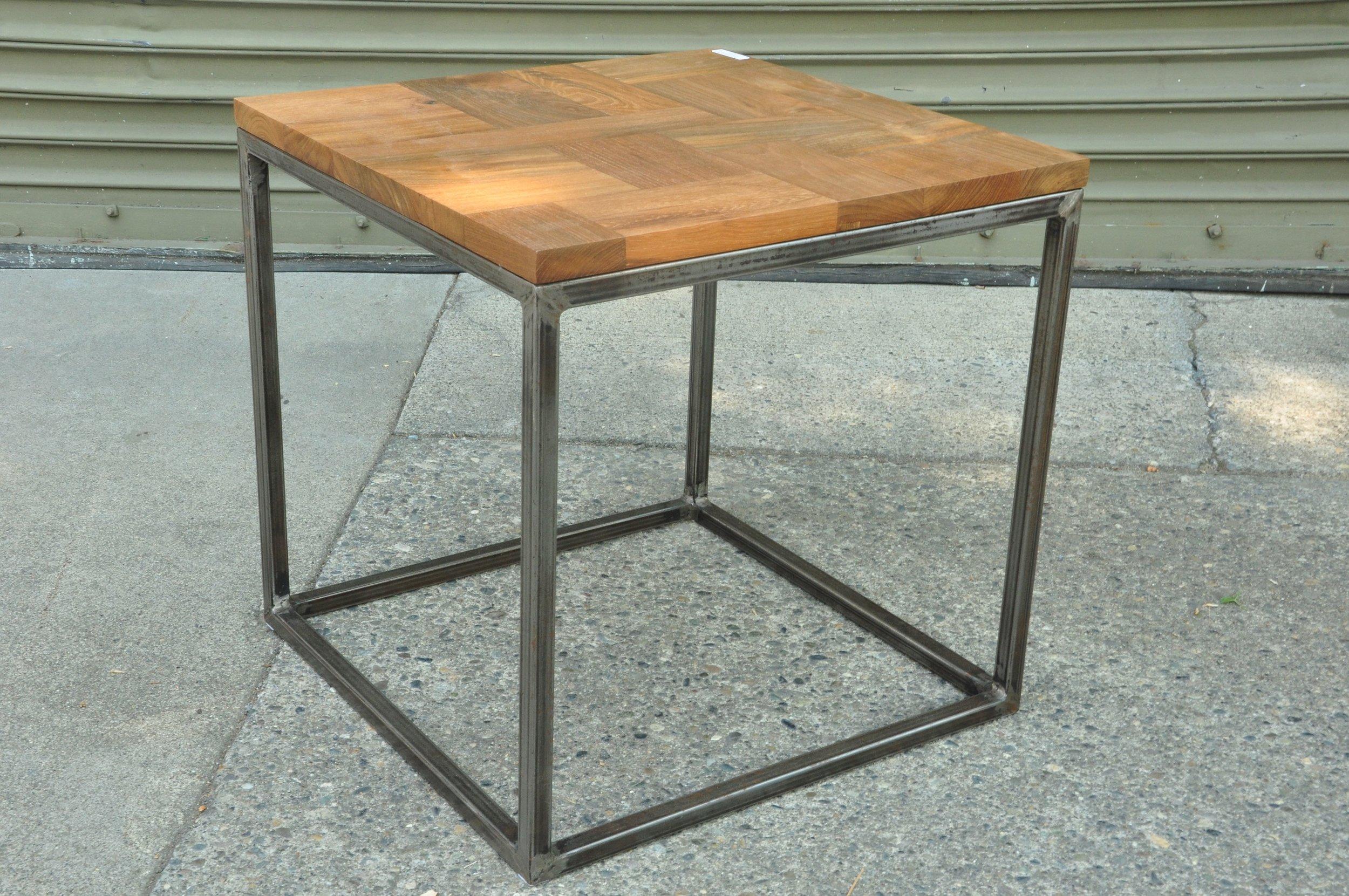 "Cube Teak Iron Side Table  14""W x 18""D x 16""H Price: $150  18""W x 18""D x 18""H Price: $160  20""W x 20""D x 21""H Price: $170"