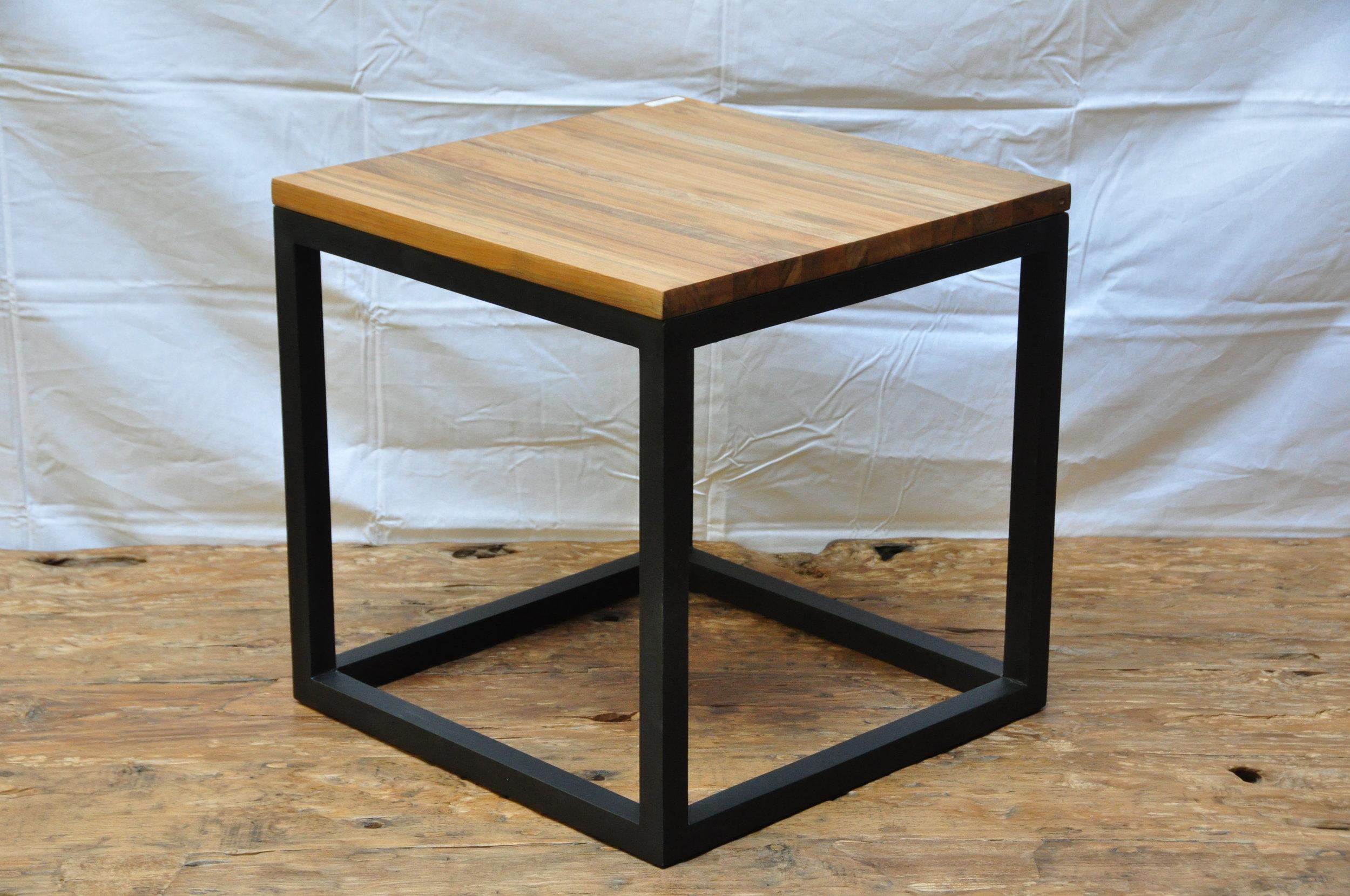 "Teak Cube Side Table  19.75""W x 19.75""D x 19.75""H  Price: $170"