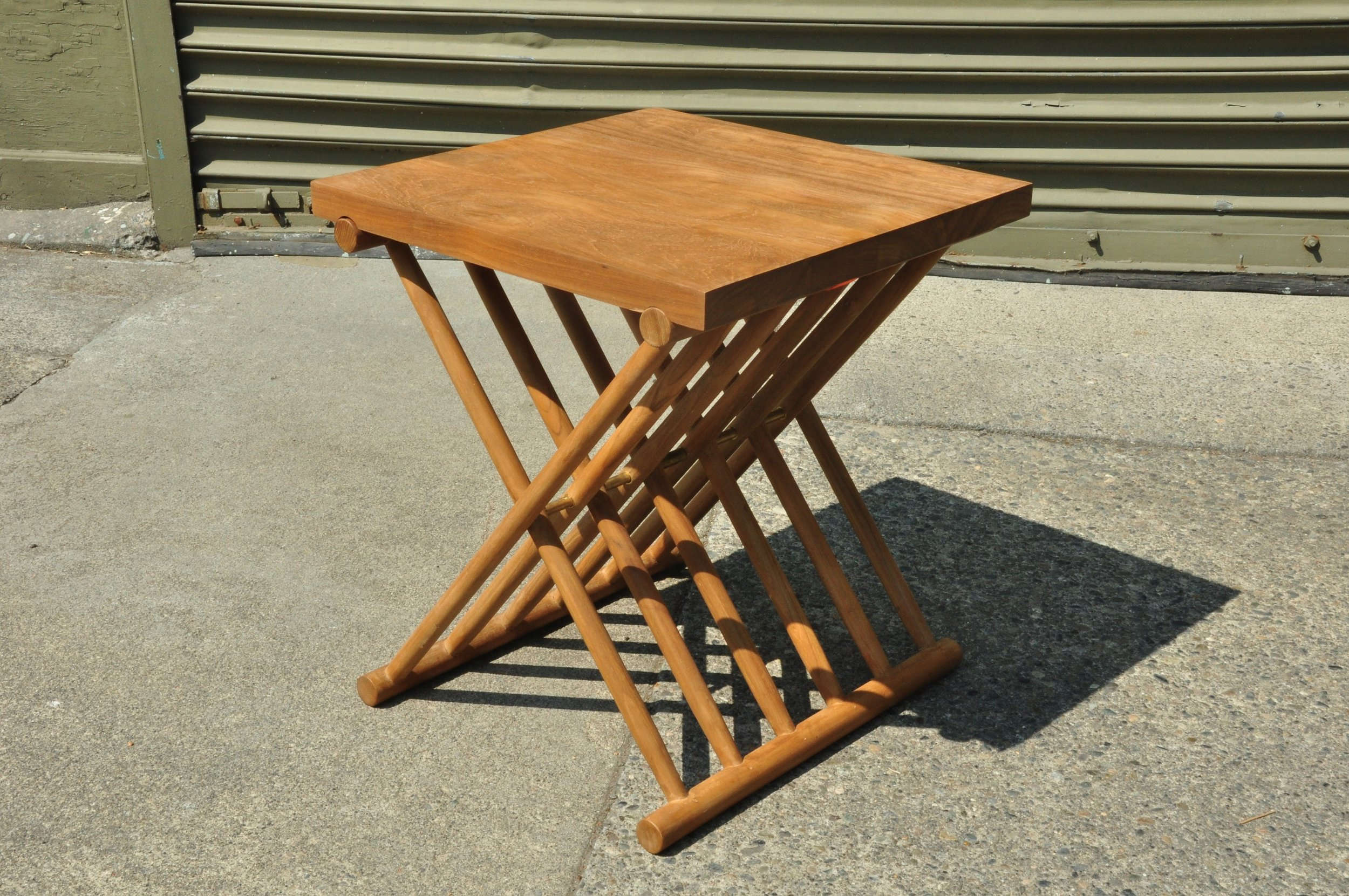 """Folding Slatted Side Table  17""""W x 17""""D x 19""""H  Price: $299"""