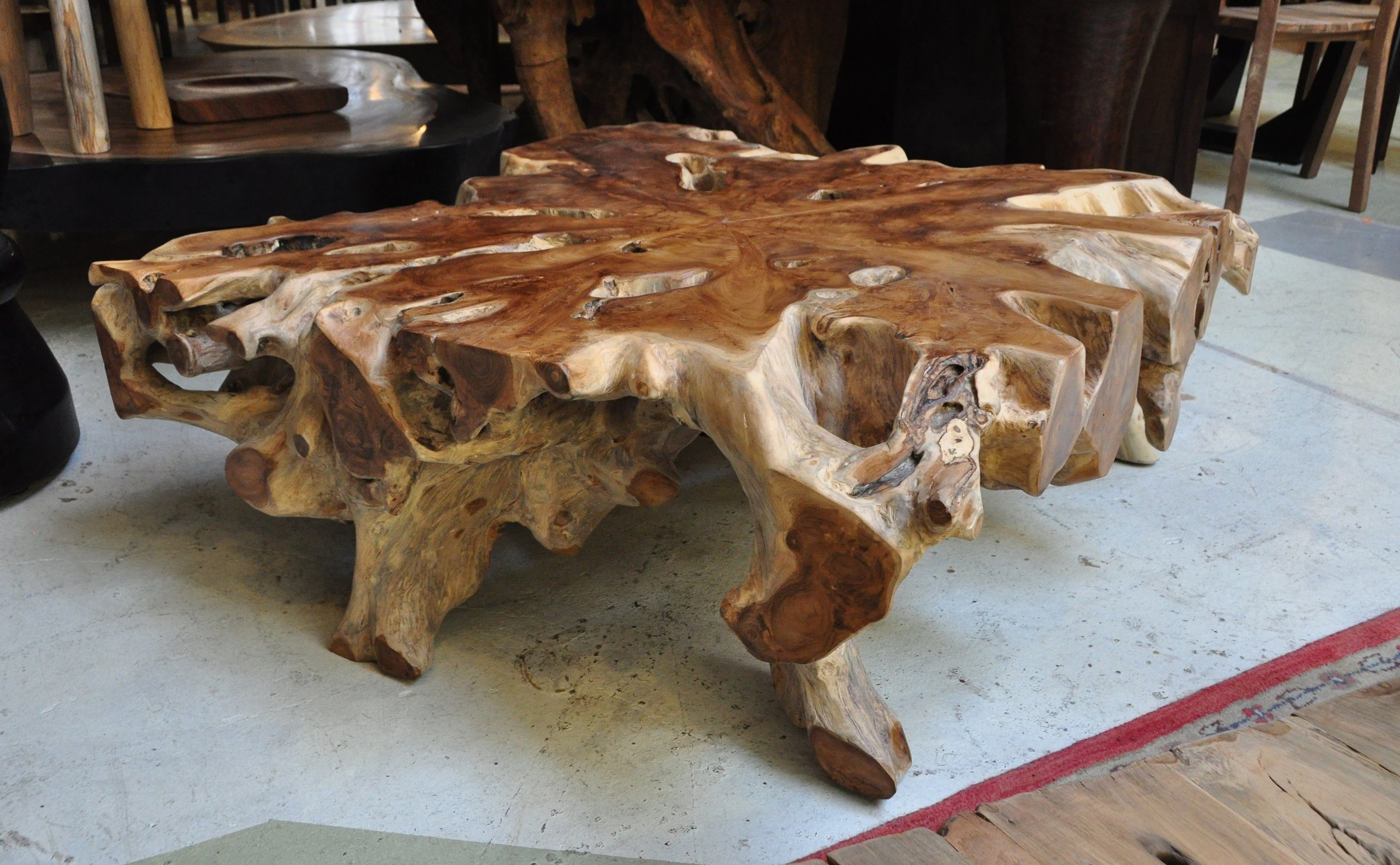 "Teak Root Coffee Table  39""W x 39""D x 16""H  Price: $1,100"