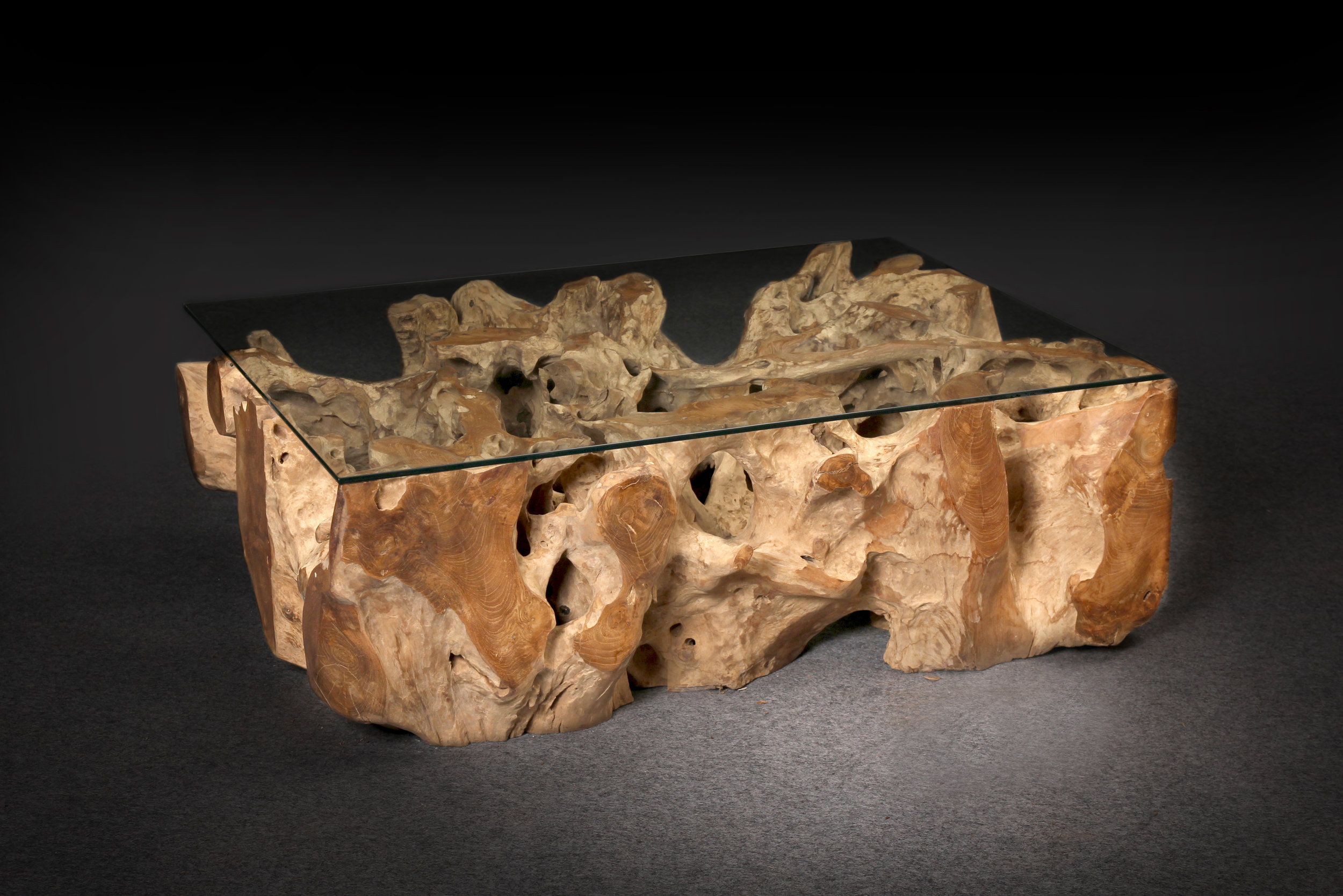 "Teak Root Coffee Table w/ Glass Top  Sizes vary  Sample price: $1,195 (32"" square)  59""W x 45""D x 20""H Price: $2,545"