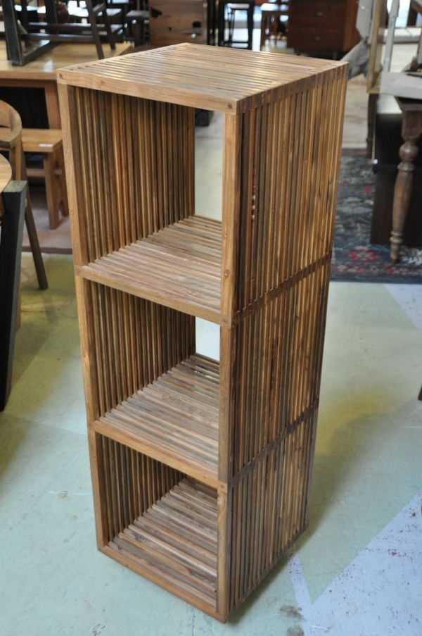 "Slatted Cube Bookshelves   16""W x 16""D x 34""H,  $350   16""W x 16""D x 50""H (as shown),  $430"