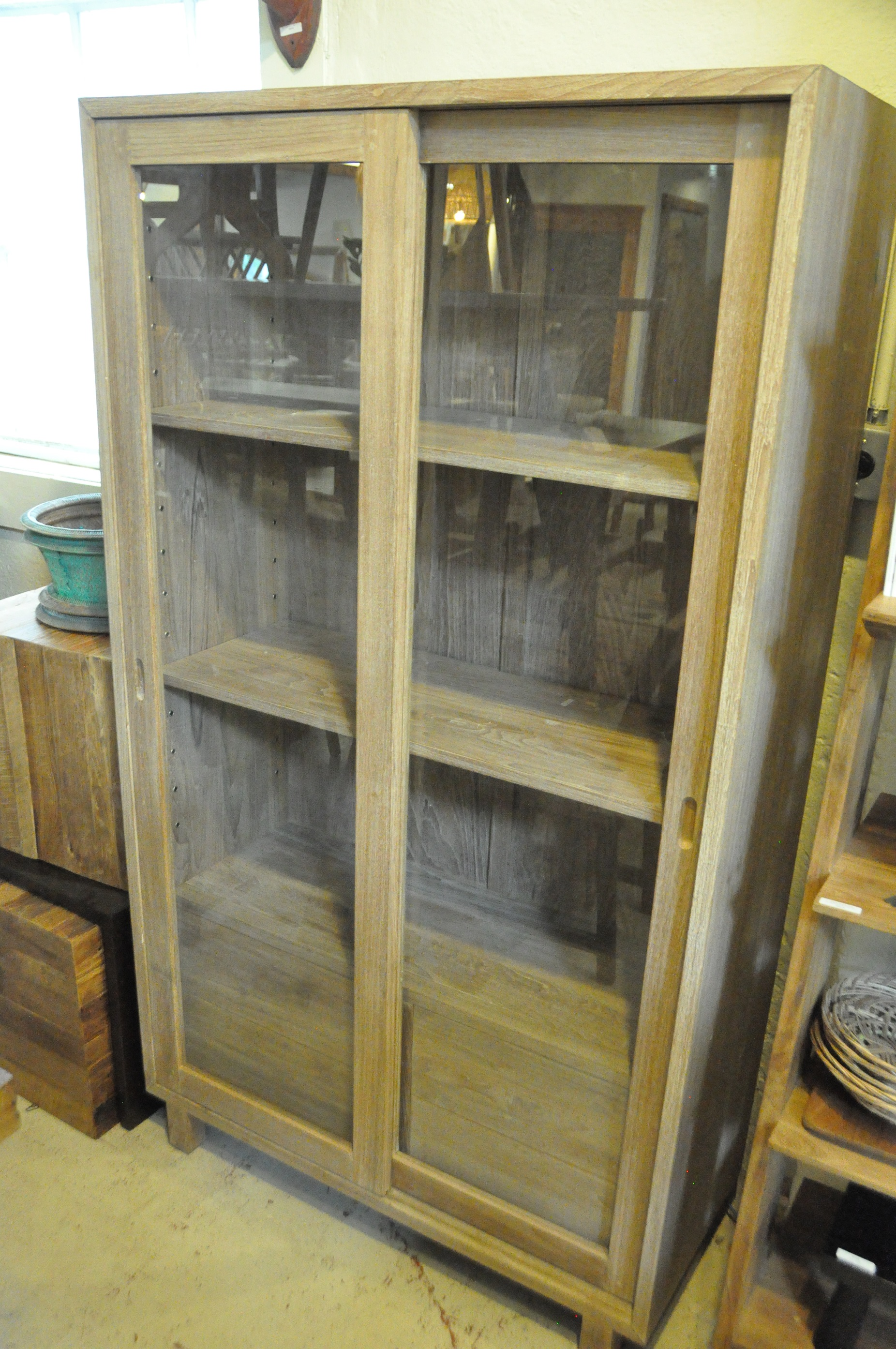 "Sliding Glass Cabinet   40""W x 17""D x 70""H   Price: $1,600"