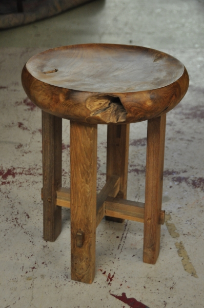 "Criss-Cross Round Stool  Price: $160  13""D x 18""H"