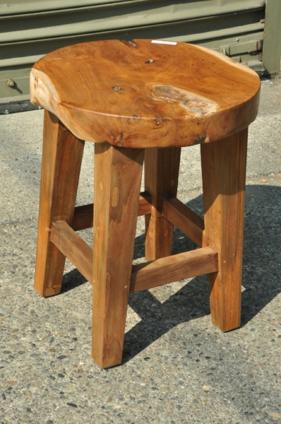 "Frenchy Stool  14.5""Dx18""H  Price: $165"