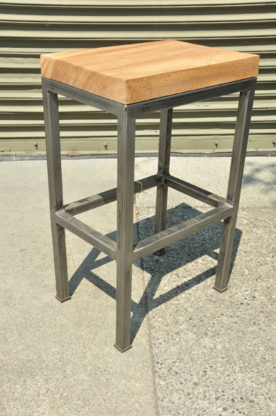 "Menara Solobin Barstool with Iron Base  Price: $195  18""W x 13""D x 28""H"