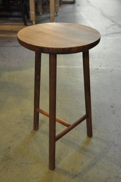 "T-Base Round Teak Counter Stool  Price: $175  14""D x 24""H"