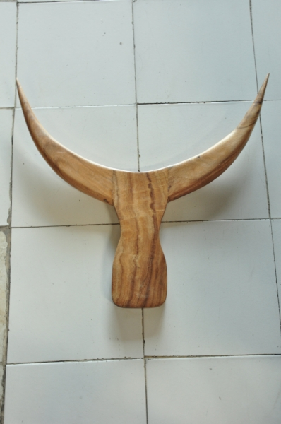 "Wooden Buffalo Head  22.85""W x 25.6""D  Price: $150"