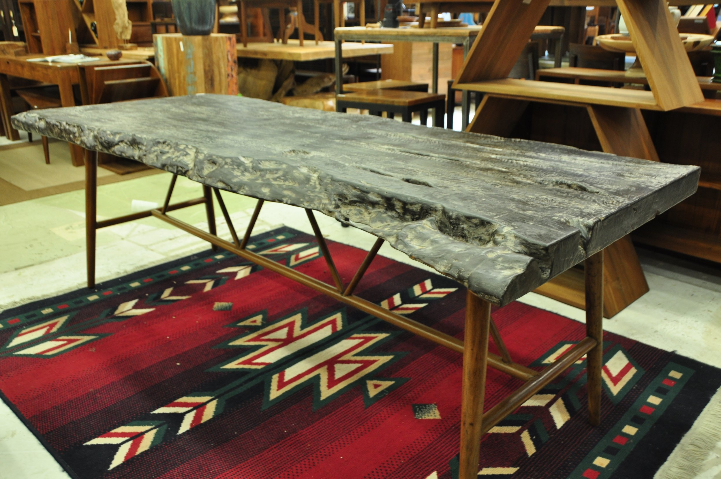 "Lychee Dining Table (Burnt)  Price: $1,977  87.8""Wx35.43""Dx30.71""H"