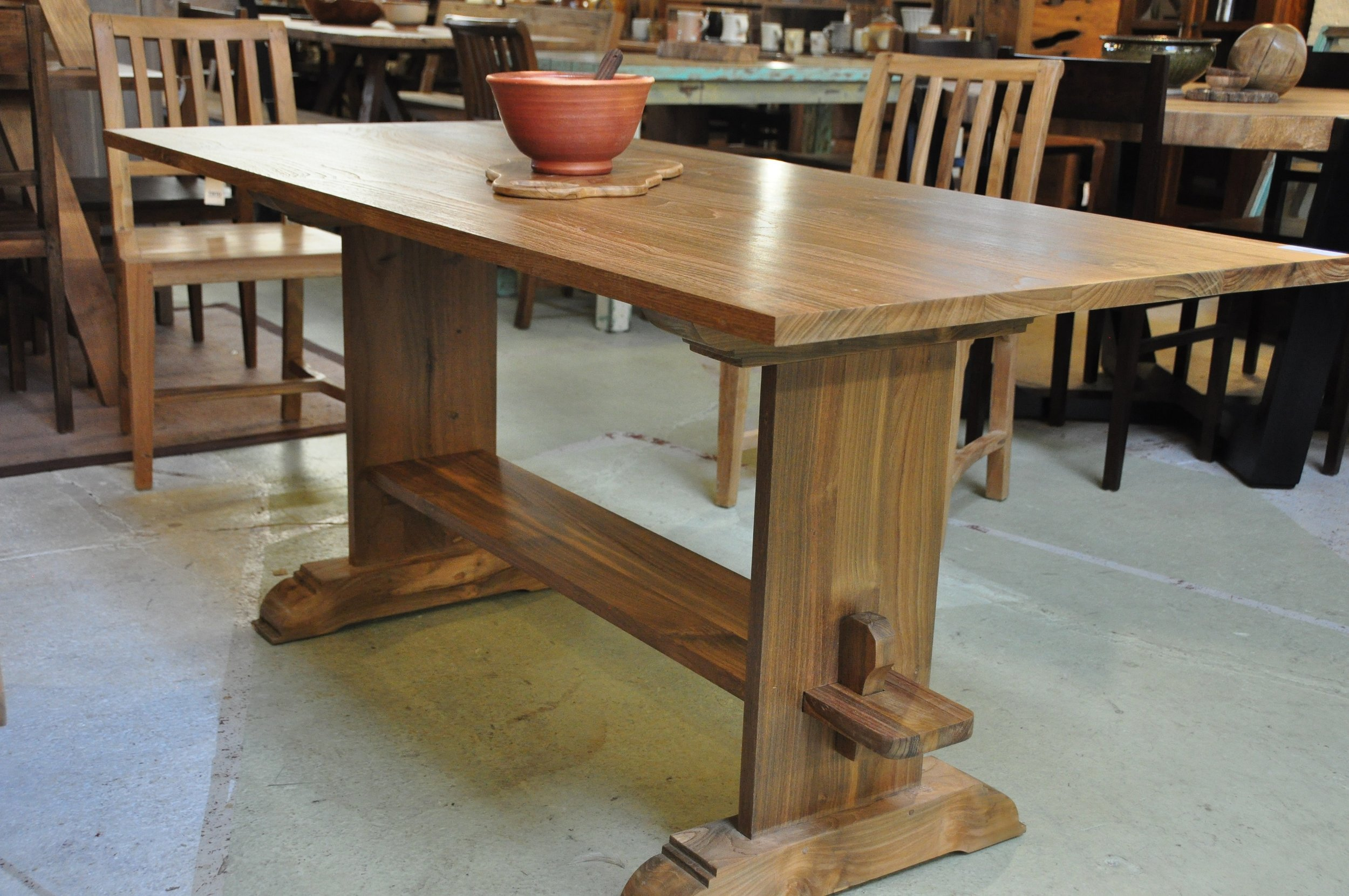 "Solid Trestle Table  Price: $1,195  66""L x 30""D x 30""H"