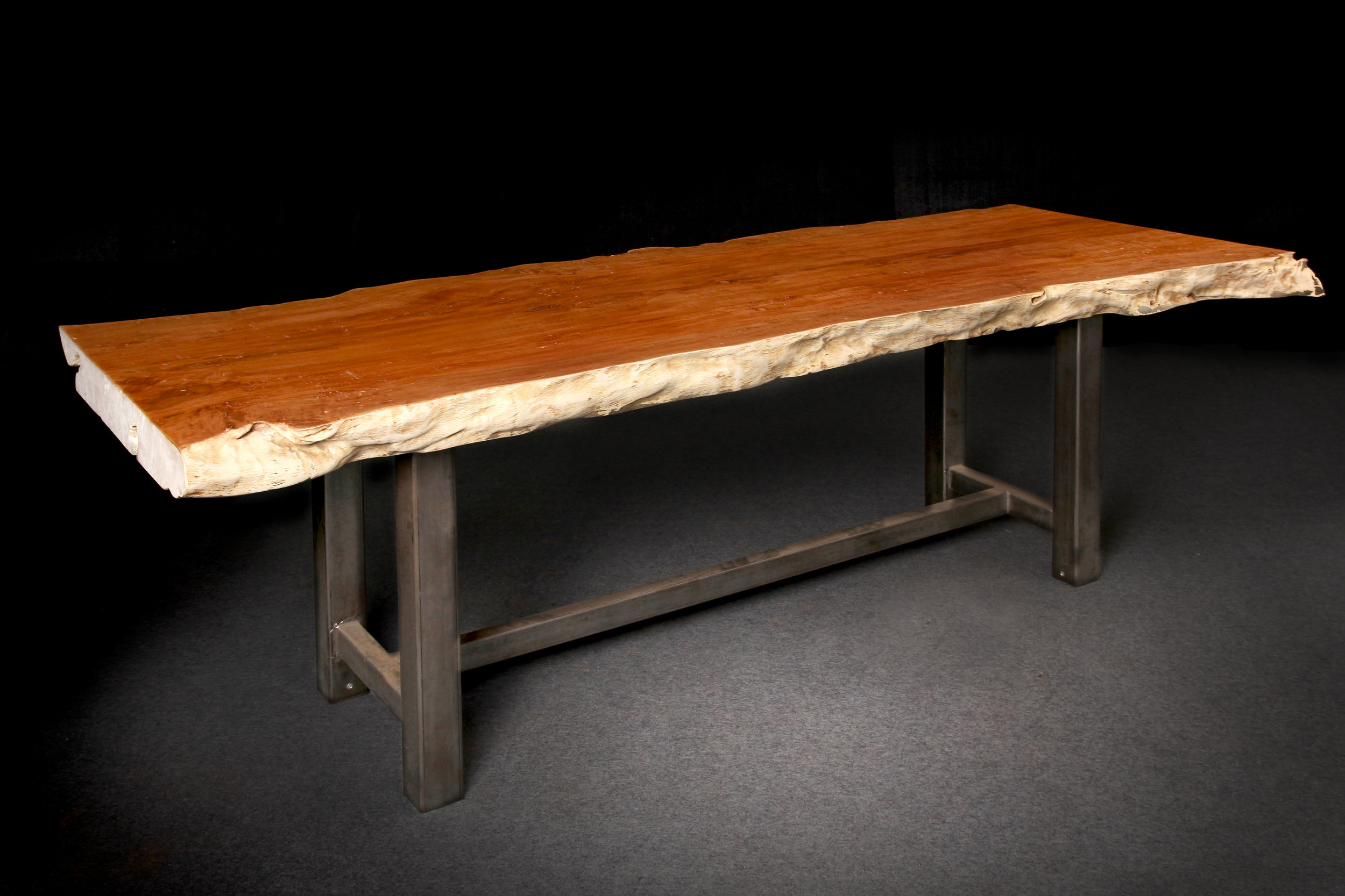 "Lychee Table with Iron Legs  (Example of size and price)  $2,275, 91""L x 31""D x 32""H"