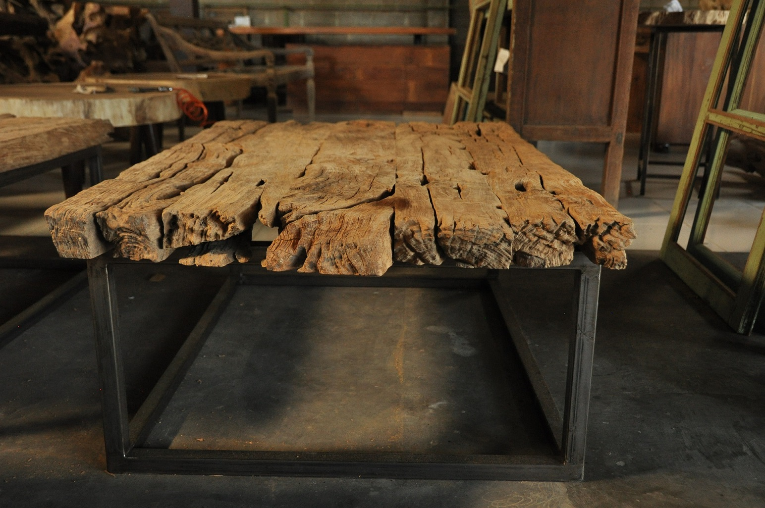 "Rail Road Ties Coffee Table  79""W x 36""D x 18""H Price: $1,275  48""W x 33.5""D x 18""H Price: $795"