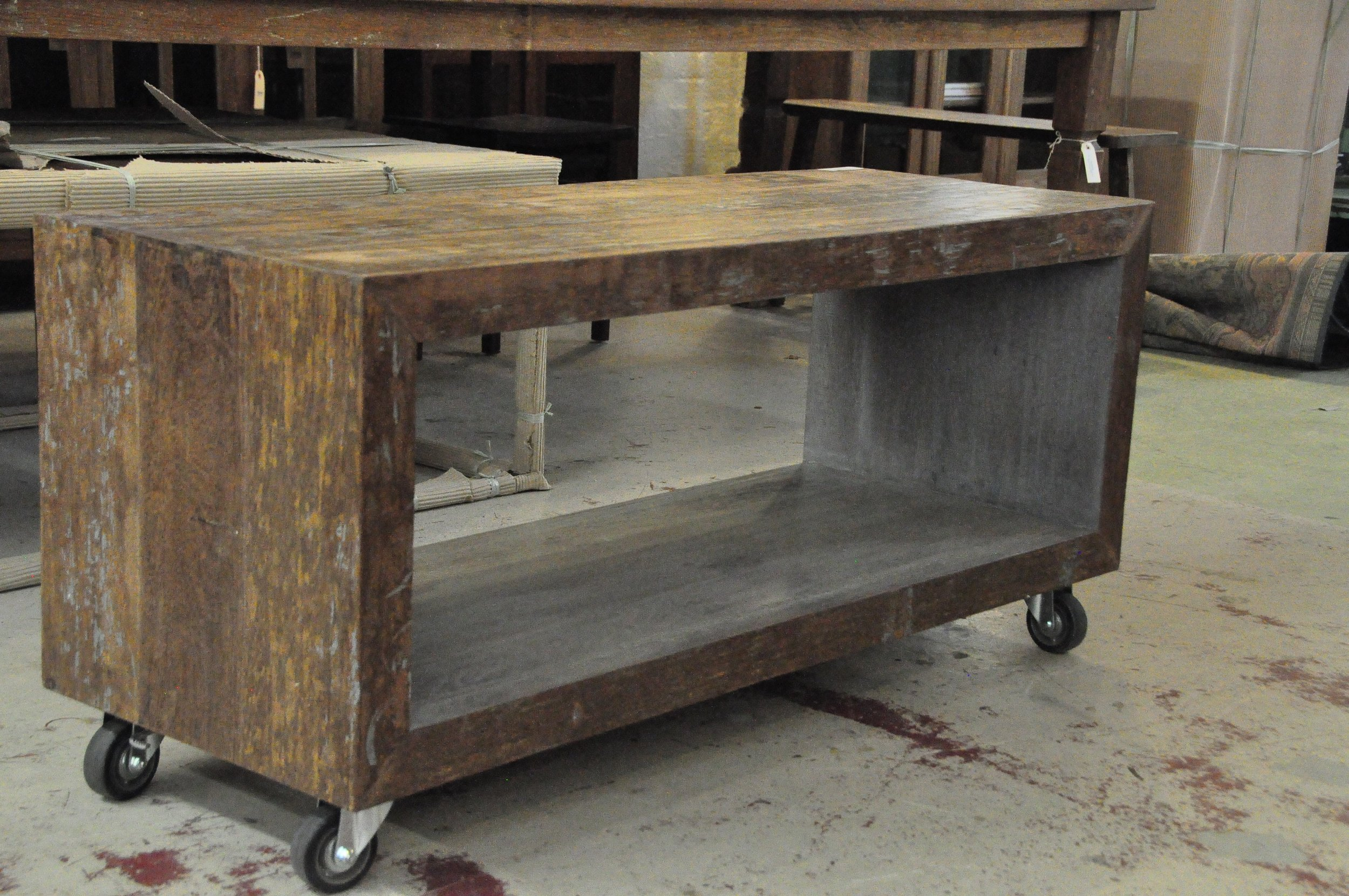 "Open Coffee Table on Wheels  48""W x 17.75""D x 17.75""H  Price: $995"