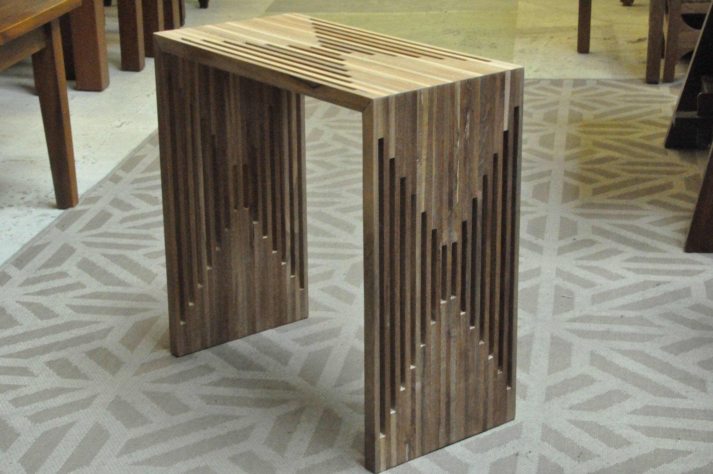 """Slatted Side Table 22""""Wx11""""Dx22""""H  Price: $150"""