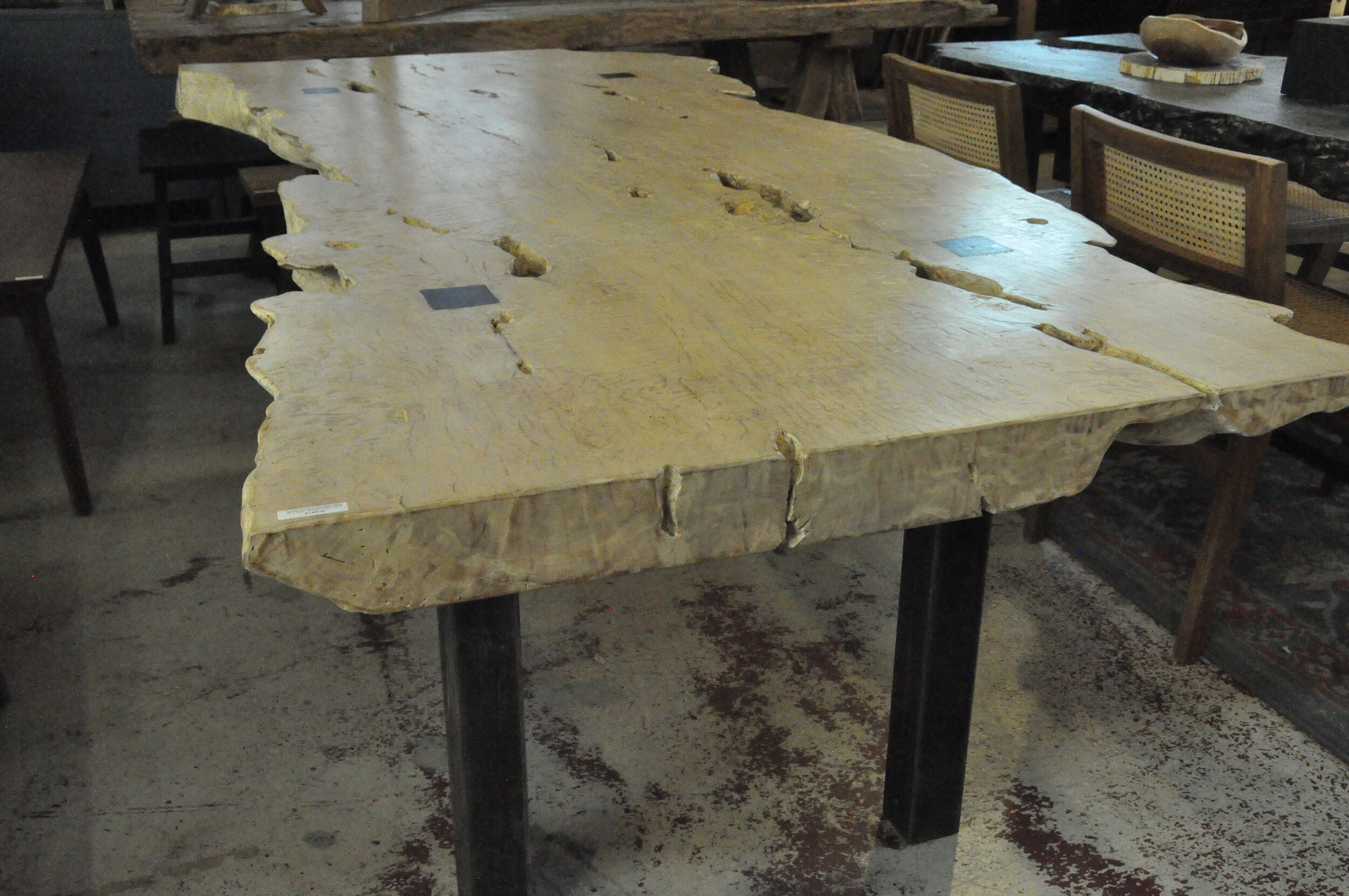 "Lychee Bleached Table with Metal Base  78.7""Wx31.5""Dx30""H  Price: $1,900"