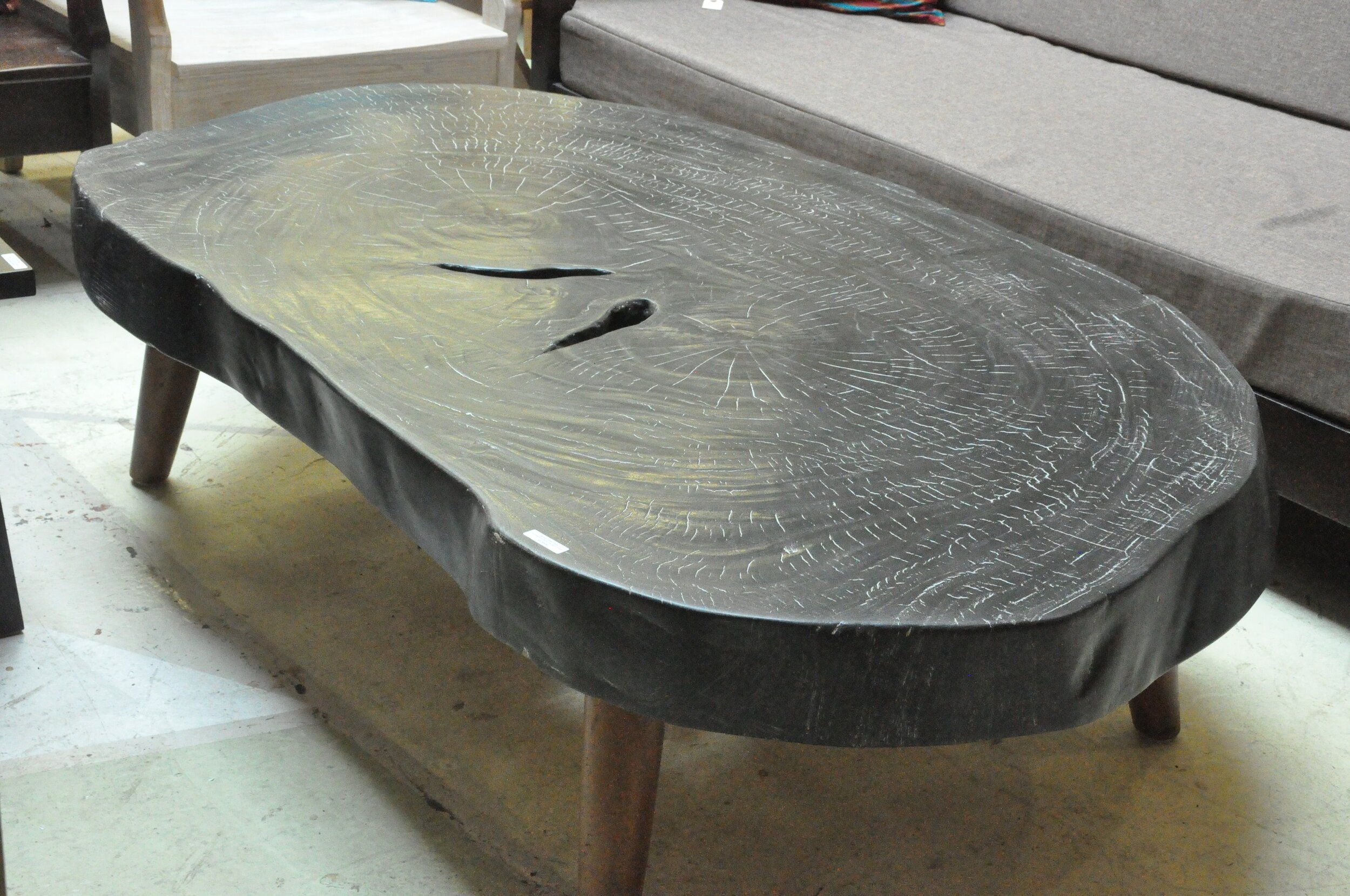 "Saman Coffee Table Burnt  71""Wx39.4""Dx19.7""H  Price: $1,795"