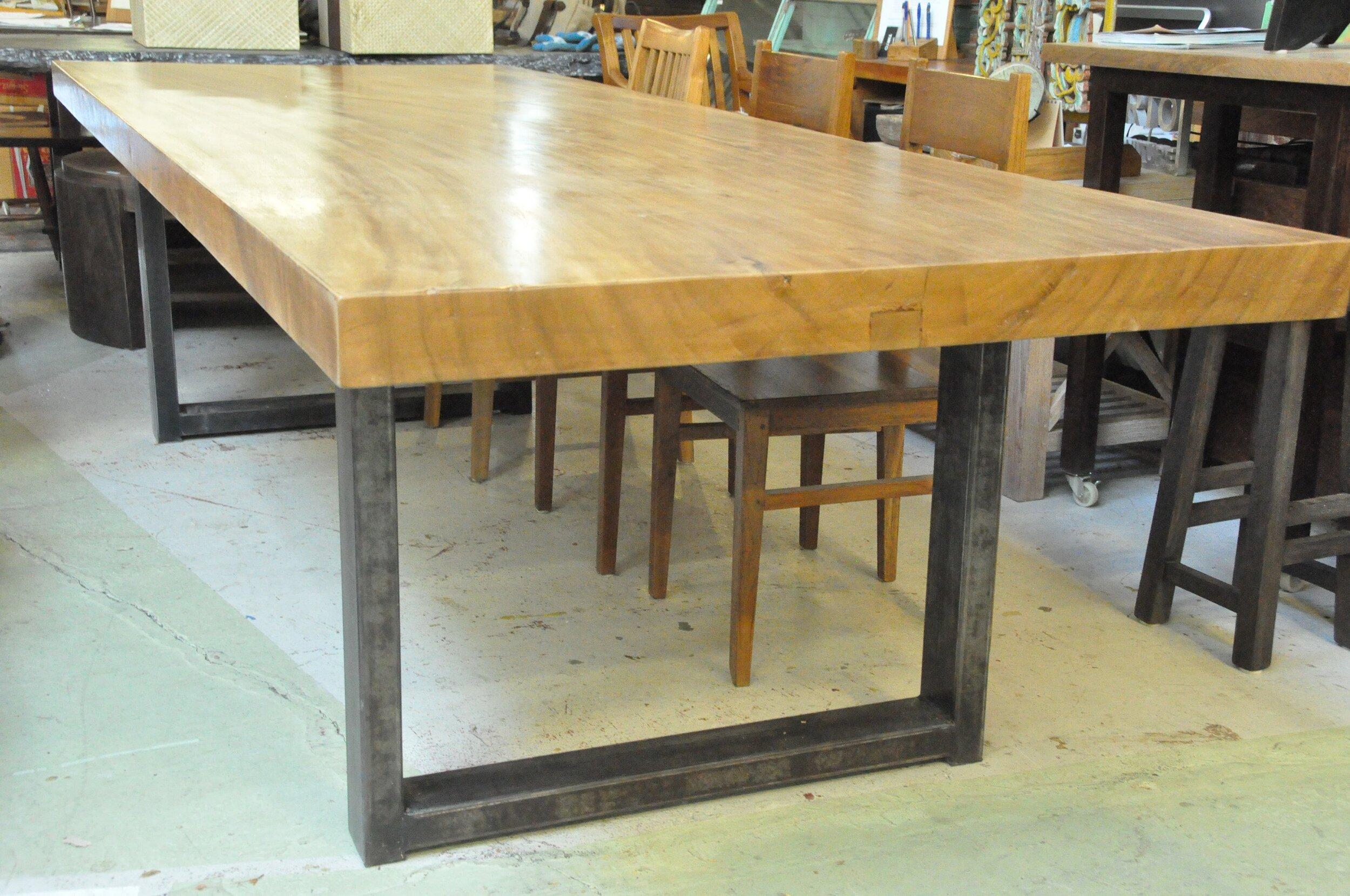 """Saman Table Metal Base  119.73""""Wx42""""Dx30""""H  Price: $6,326"""