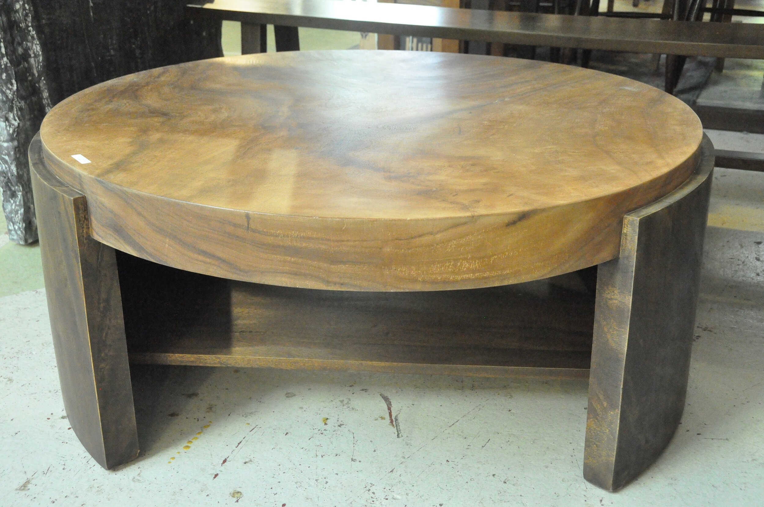 """Round Solobin Coffee Table  35""""Dx18""""H  Price: $995   41""""Dx18.5""""H  Price: $1,100"""