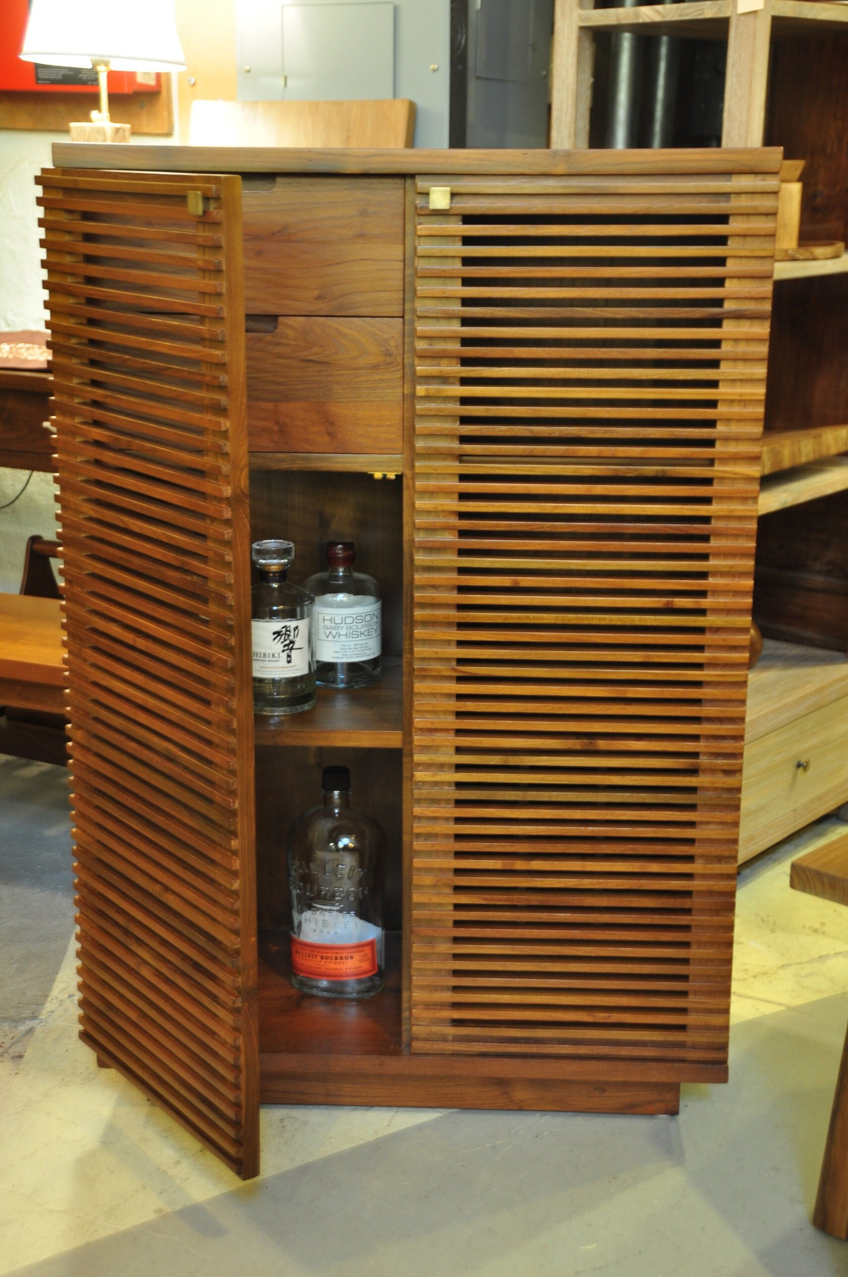 "Slatted Liquor Cabinet   30""W x 15""D x 45""H   Price: $1,100"