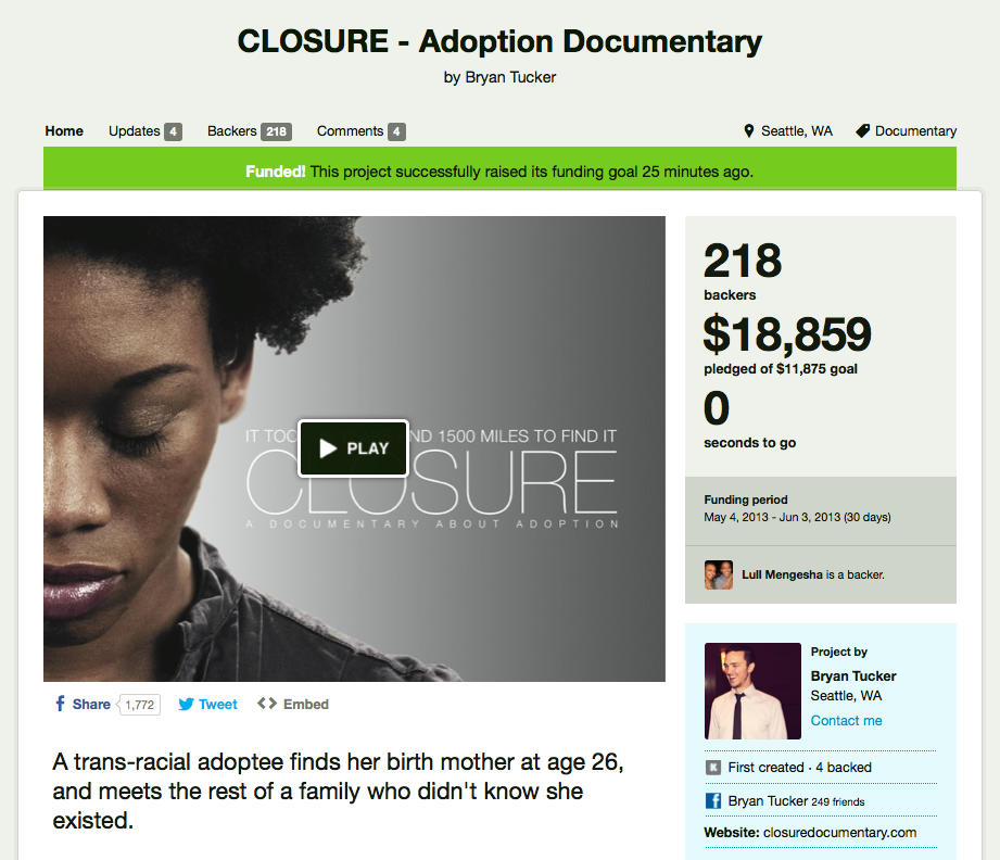 Screenshot of our crowdfunding campaign page on Kickstarter