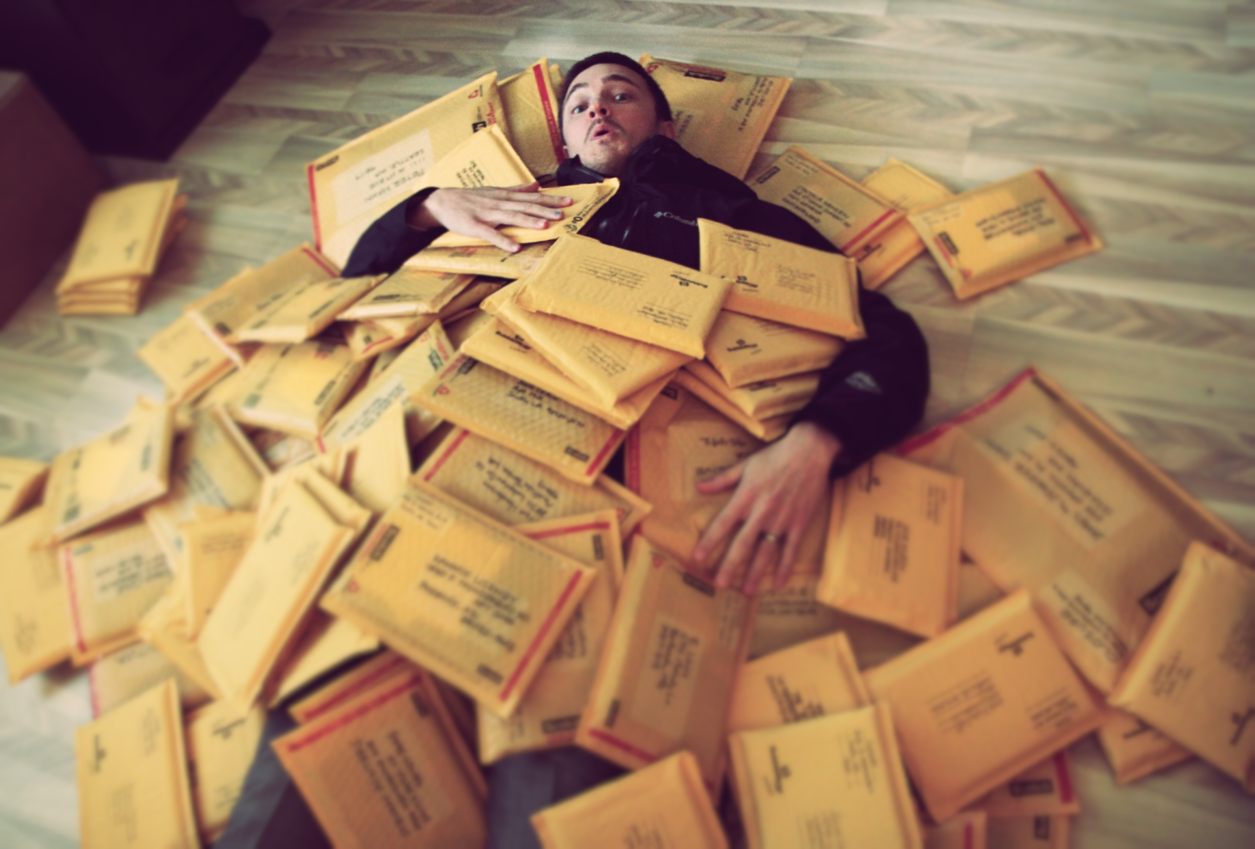 Bryan buried in Kickstarter packages!