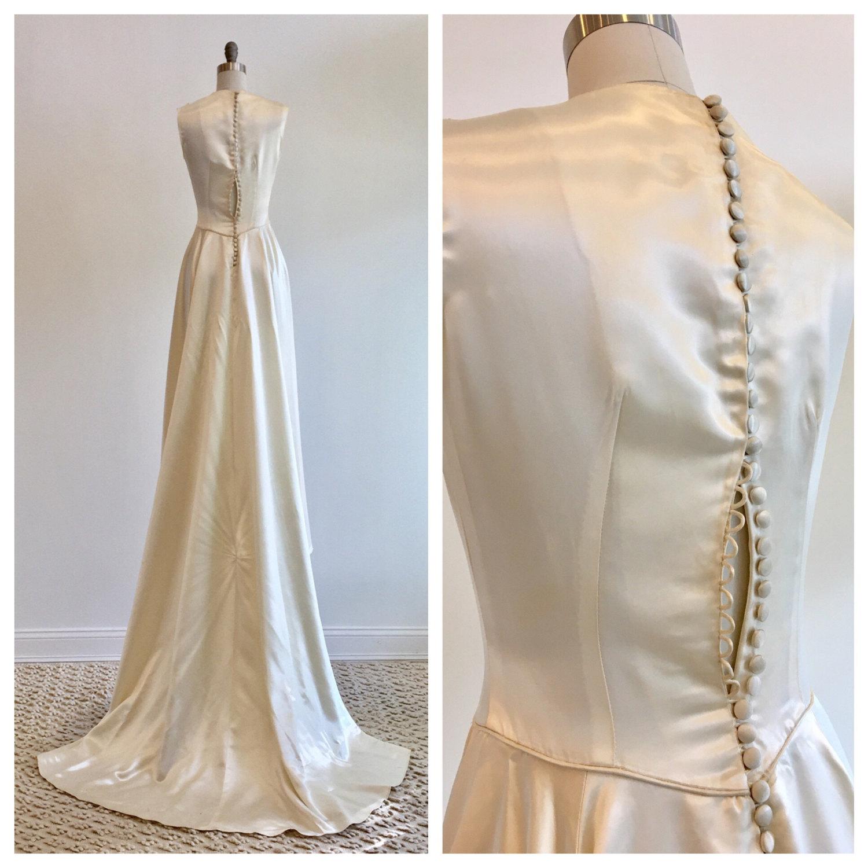 Vintage 18s ivory slipper satin wedding dress with beaded detail —  Miranda's Vintage Bridal