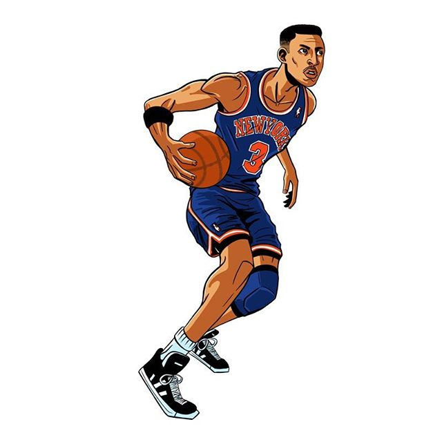 Throwback. 1990's NBA era. John Starks. Number 3 of the New York Knicks. . . . . #Johnstarks #Housestark #NYC #Knicks  #90s #newyorkknicks #newyork #starks #newyorkcity #nba #basketball #draw #drawing #digital #sketch #art #illustration #ipad #procreate