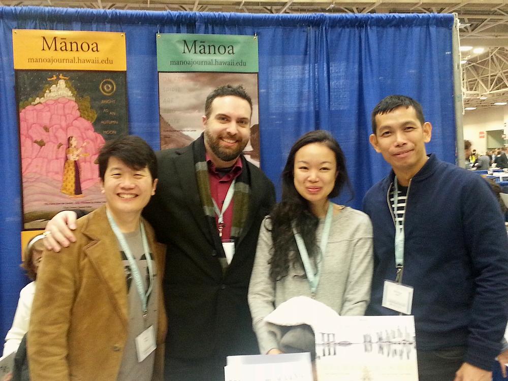 Jeremy Tiang, Jason Lundberg, Amanda Lee Koe, and Jee Leong Koh at MANOA's exhibit booth.
