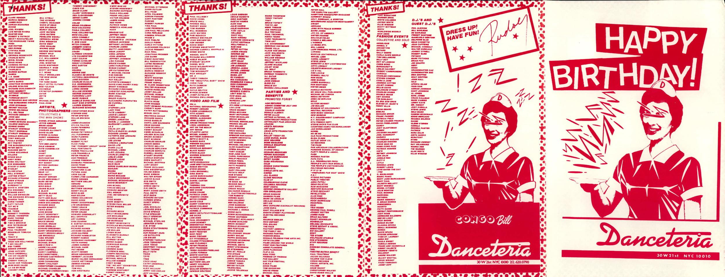 Danceteria publicity. Courtesy of John Argento.