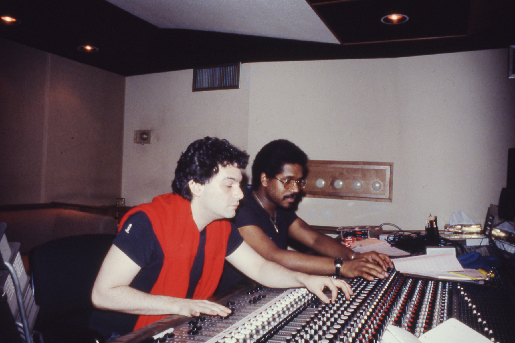 Mark Kamins and Butch Jones in studio. Courtesy of Butch Jones.