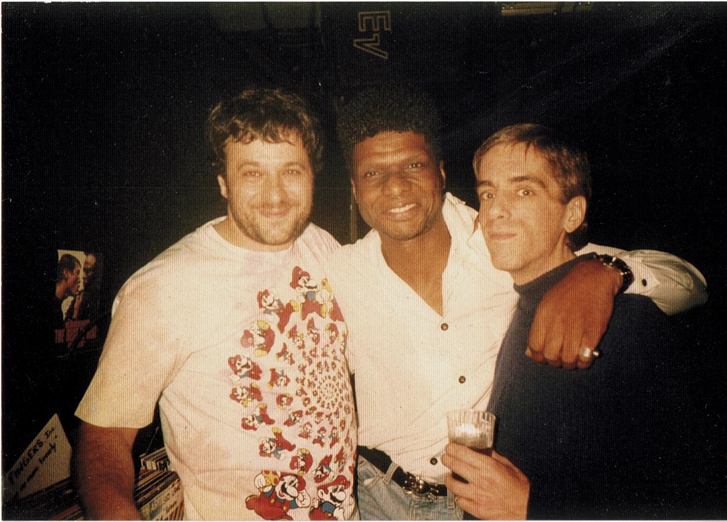 François Kevorkian, Larry Levan and Walter Gibbons, Japan, 1992. Courtesy of François Kevorkian, photographer unknown.