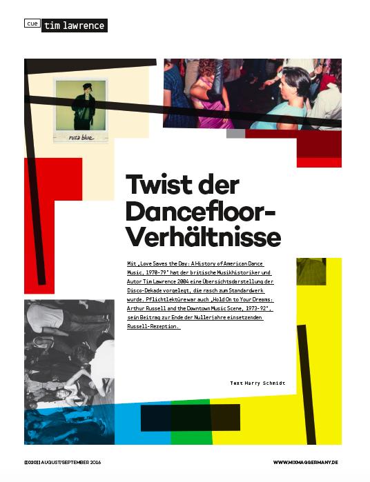 Text Harry Schmidt,Mixmag Germany, August / September 2016