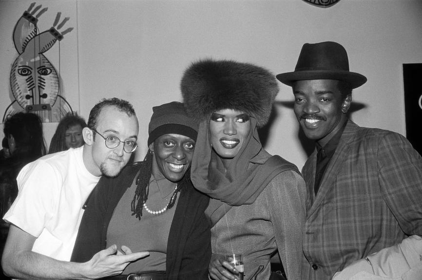 Keith Haring, Bethany Hardison, Grace Jones and Fred 'Fab 5 Freddy' Brathwaite at the Fun Gallery (c. 1983). The photograph is featured in Tim Lawrence's new book 'Life and Death on the New York Dance Floor, 1980-1983.'   ANDE WHYLAND