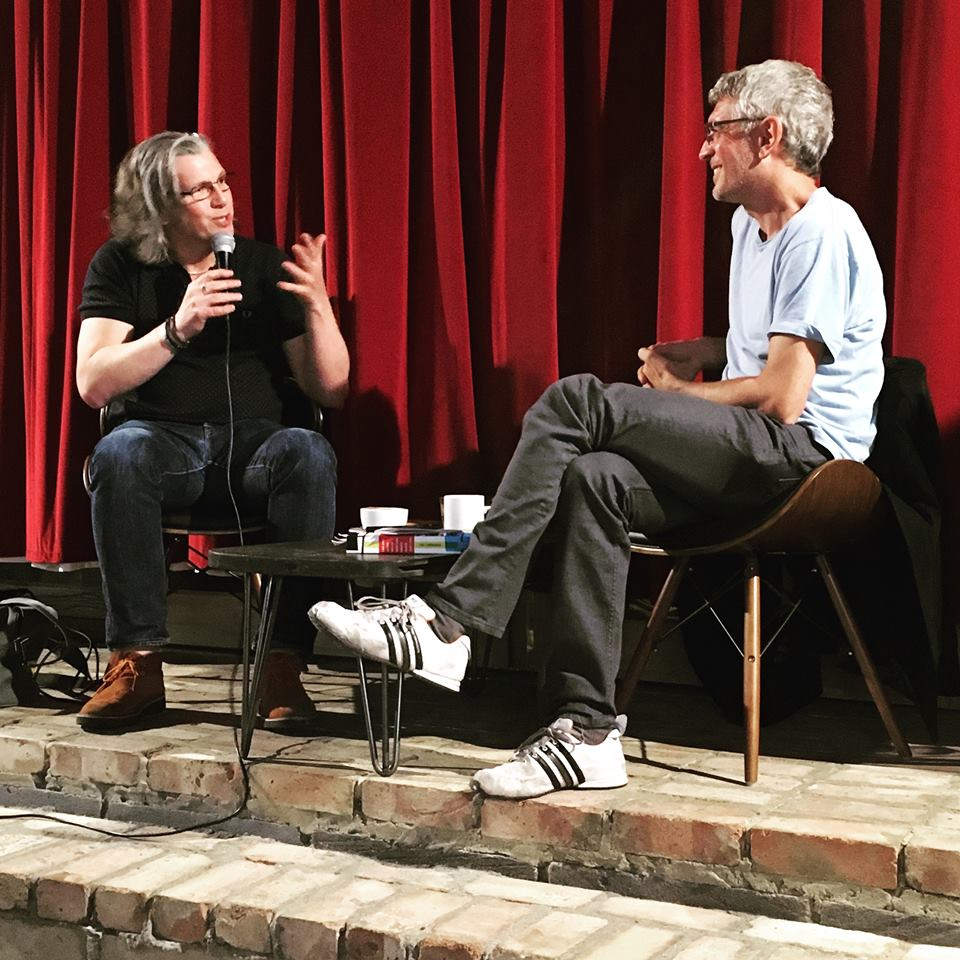 Greg Wilson interviewing me at the Pages of Hackney launch for L&D at the Institute of Light—photographer Maz Phiri