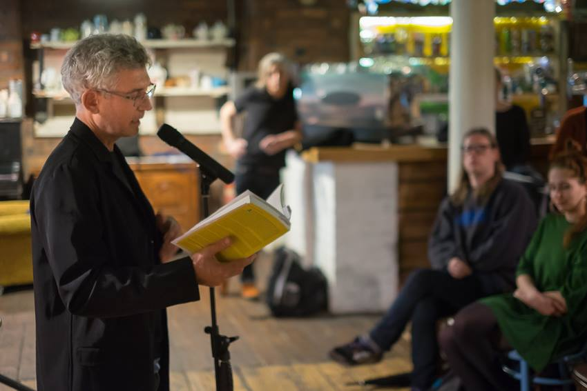 Reading from the section about David Mancuso in the Loft at the Baltic Social, Liverpool. Photo by Martin Noakes.
