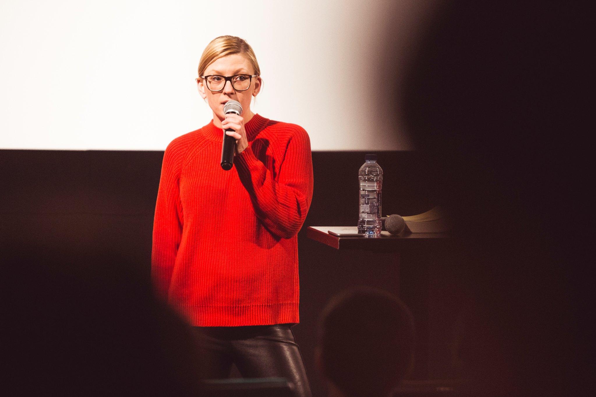 Kotryna Lingienė introduces the talk in Vilnius. Photo by Tautvydas Stukas..jpg