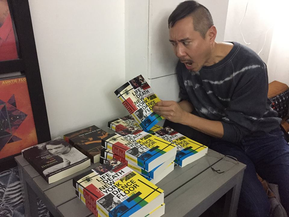 Daniel Wang, NYC-raised, Berlin-based DJ/producer/philosophy/hedonist and dear friend who I don't see nearly enough at Echo Books as the crowd rolls in.