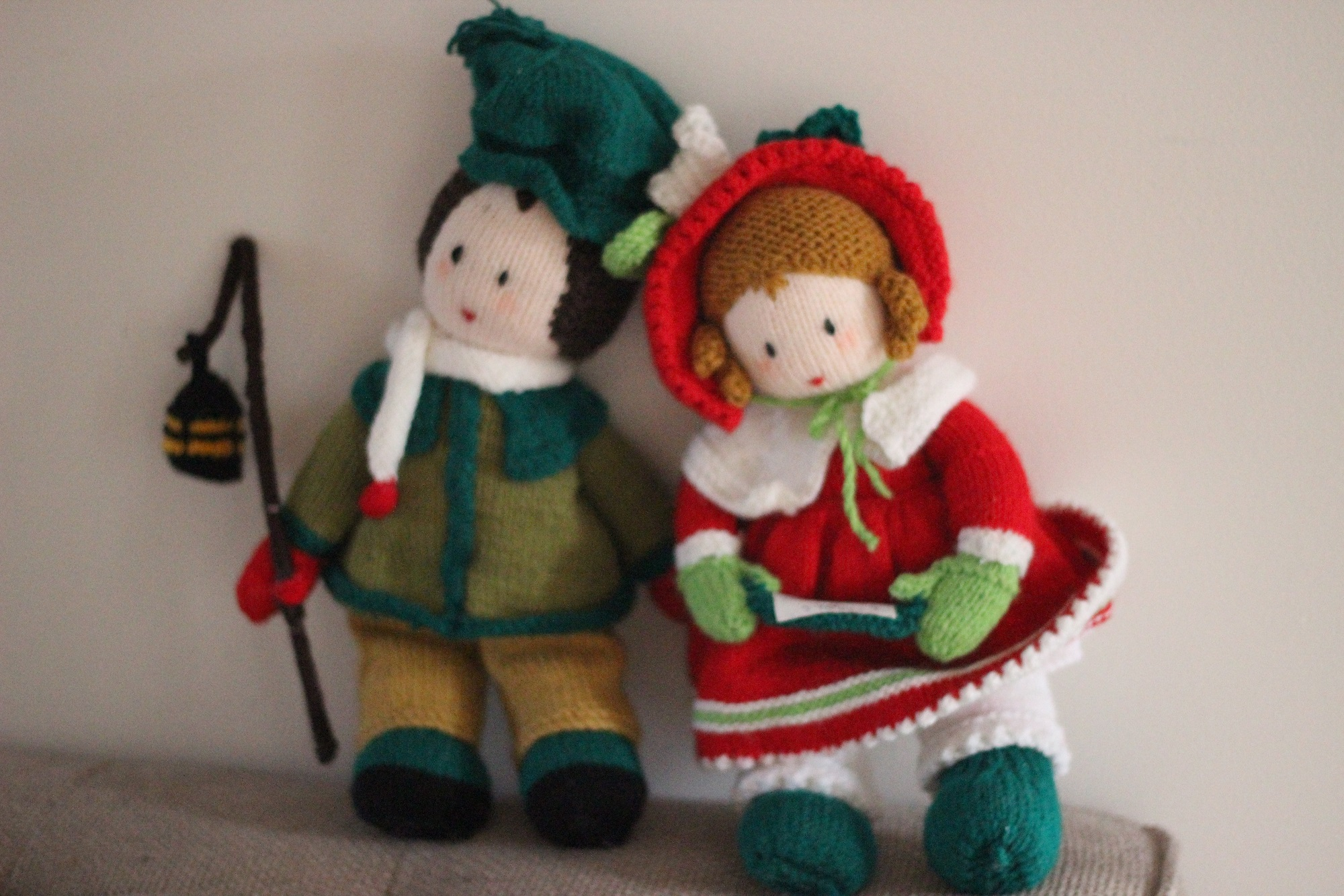 hand knitted Christmas carolers