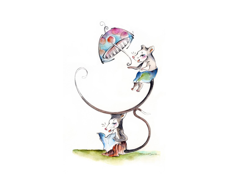 Children's  Entertaining silly little mice.  View   children's illustration  .